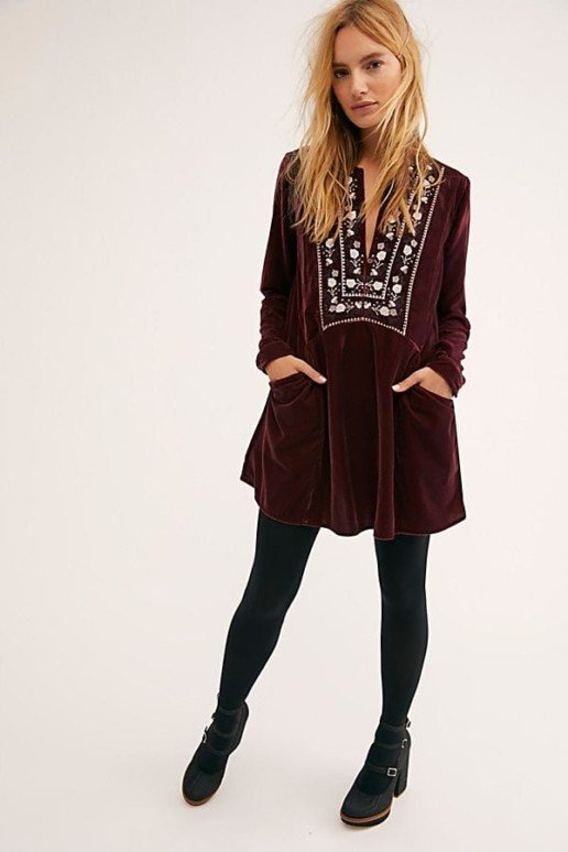 FREEPEOPLE Always Forever Velvet Mini Red Dress
