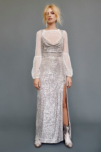 FREEPEOPLE Cool Girl Maxi Silver Dress