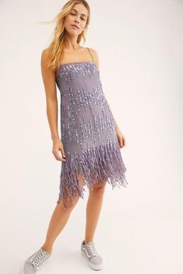 FREEPEOPLE Crystal Clear Mini Dusty Periwinkle Dress