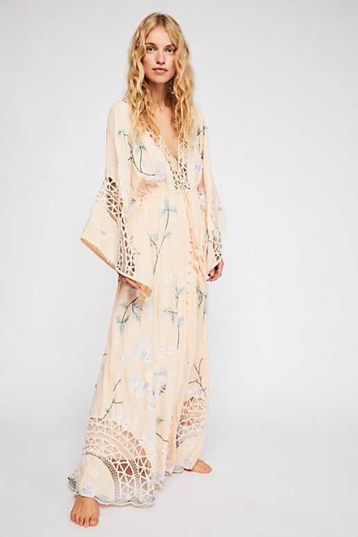 FREEPEOPLE I Am Lola Embroidered Maxi Blush Dress