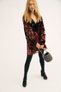 FREEPEOPLE Last Letter Burnout Velvet Mini Chocolate Combo Dress