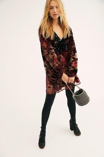 FREEPEOPLE Last Letter Burnout Velvet Mini Chocolate Combo Dress