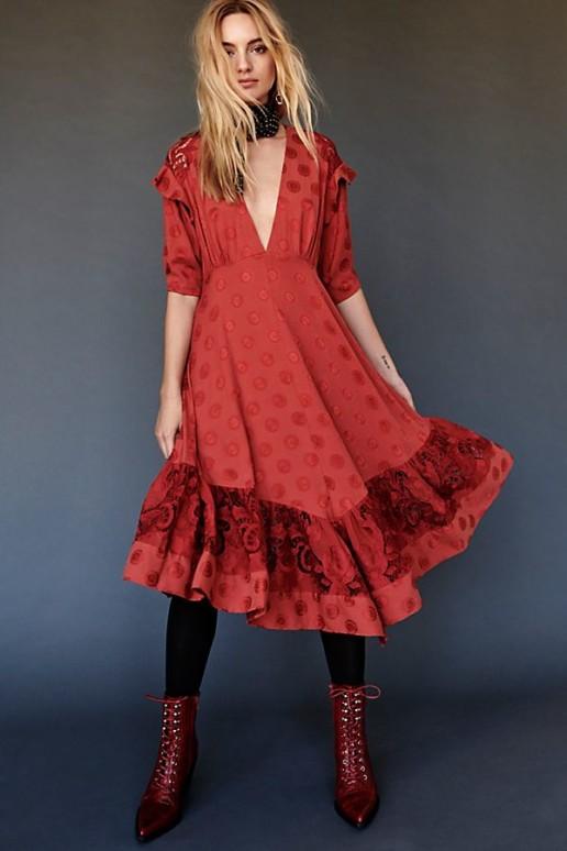 FREEPEOPLE Stevie Midi Red Dress