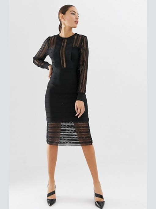 FRENCH-CONNECTION-Lace-Bodycon-Black-Dress