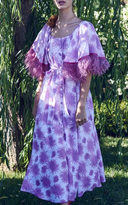 GÜL HÜRGEL Feather-Trimmed Printed Linen Midi Print Dress 2