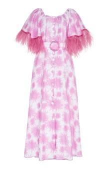 GÜL HÜRGEL Feather-Trimmed Printed Linen Midi Print Dress 3