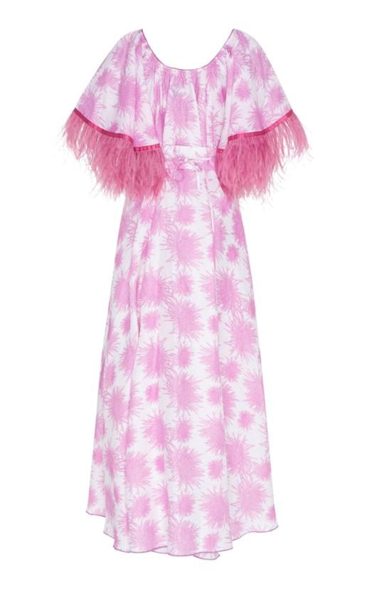 GÜL HÜRGEL Feather-Trimmed Printed Linen Midi Print Dress 4