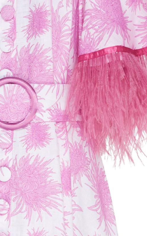 GÜL HÜRGEL Feather-Trimmed Printed Linen Midi Print Dress 5