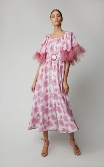 GÜL HÜRGEL Feather-Trimmed Printed Linen Midi Print Dress