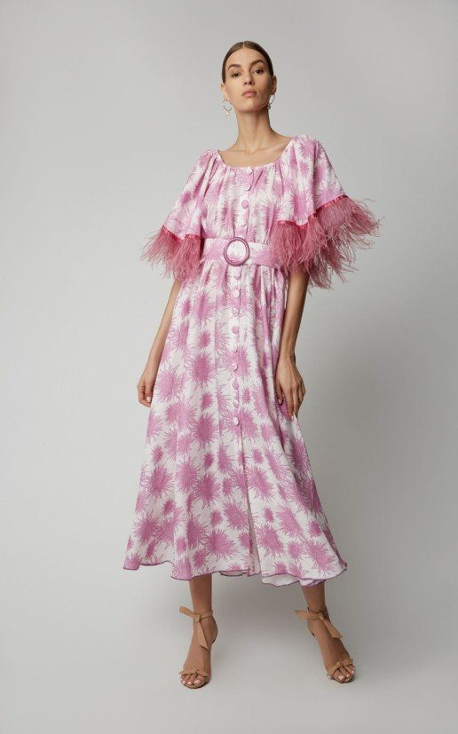 GÜL HÜRGEL Feather-Trimmed Printed Linen Midi Print Dress