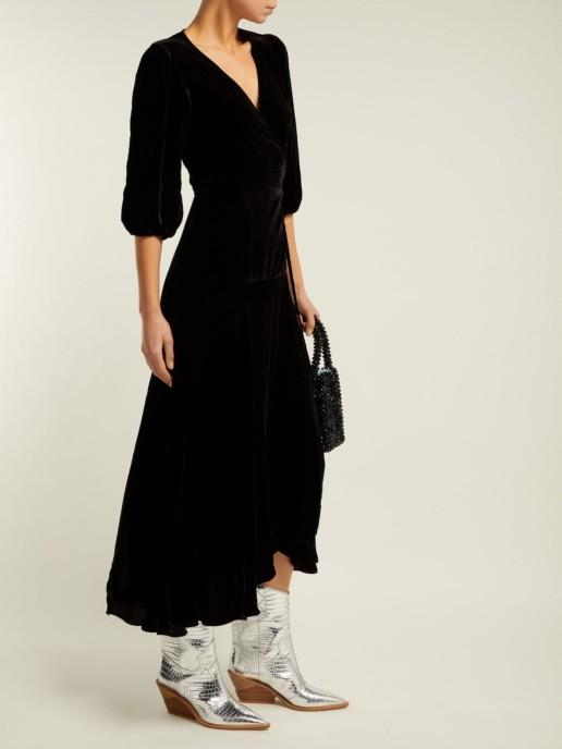 GANNI Aldine Velvet-wrap Black Dress 2