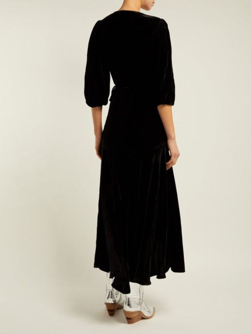 GANNI Aldine Velvet-wrap Black Dress 3