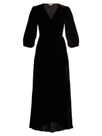 GANNI Aldine Velvet-wrap Black Dress 4