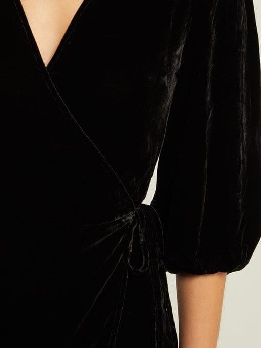 GANNI Aldine Velvet-wrap Black Dress 5