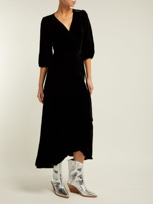 GANNI Aldine Velvet-wrap Black Dress