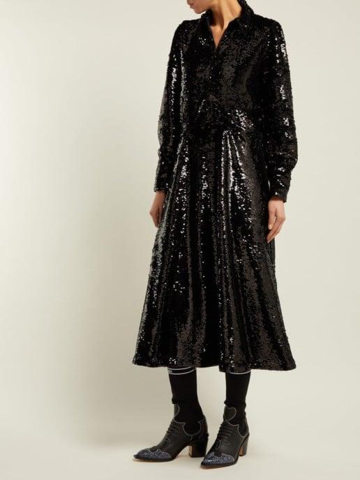 GANNI Sonora Sequinned Midi Black Dress