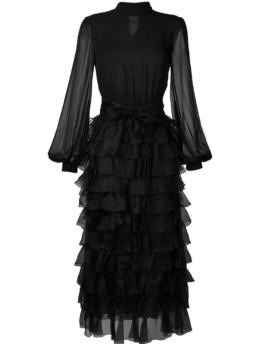 GIAMBATTISTA VALLI Tiered Ruffle Maxi Black Dress 2