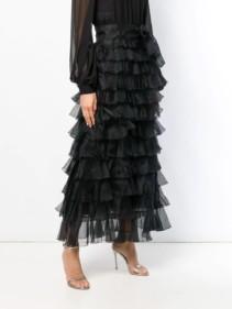 GIAMBATTISTA VALLI Tiered Ruffle Maxi Black Dress 3