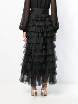 GIAMBATTISTA VALLI Tiered Ruffle Maxi Black Dress 4