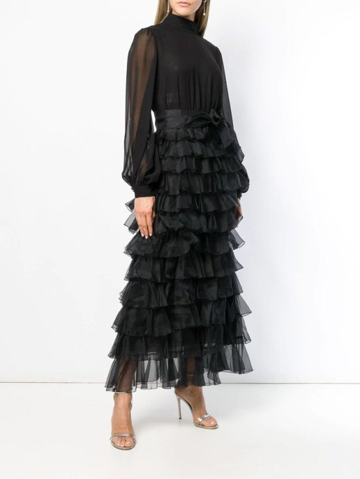 GIAMBATTISTA VALLI Tiered Ruffle Maxi Black Dress