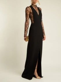 GIVENCHY Wool And Floral-Lace Evening Black Gown
