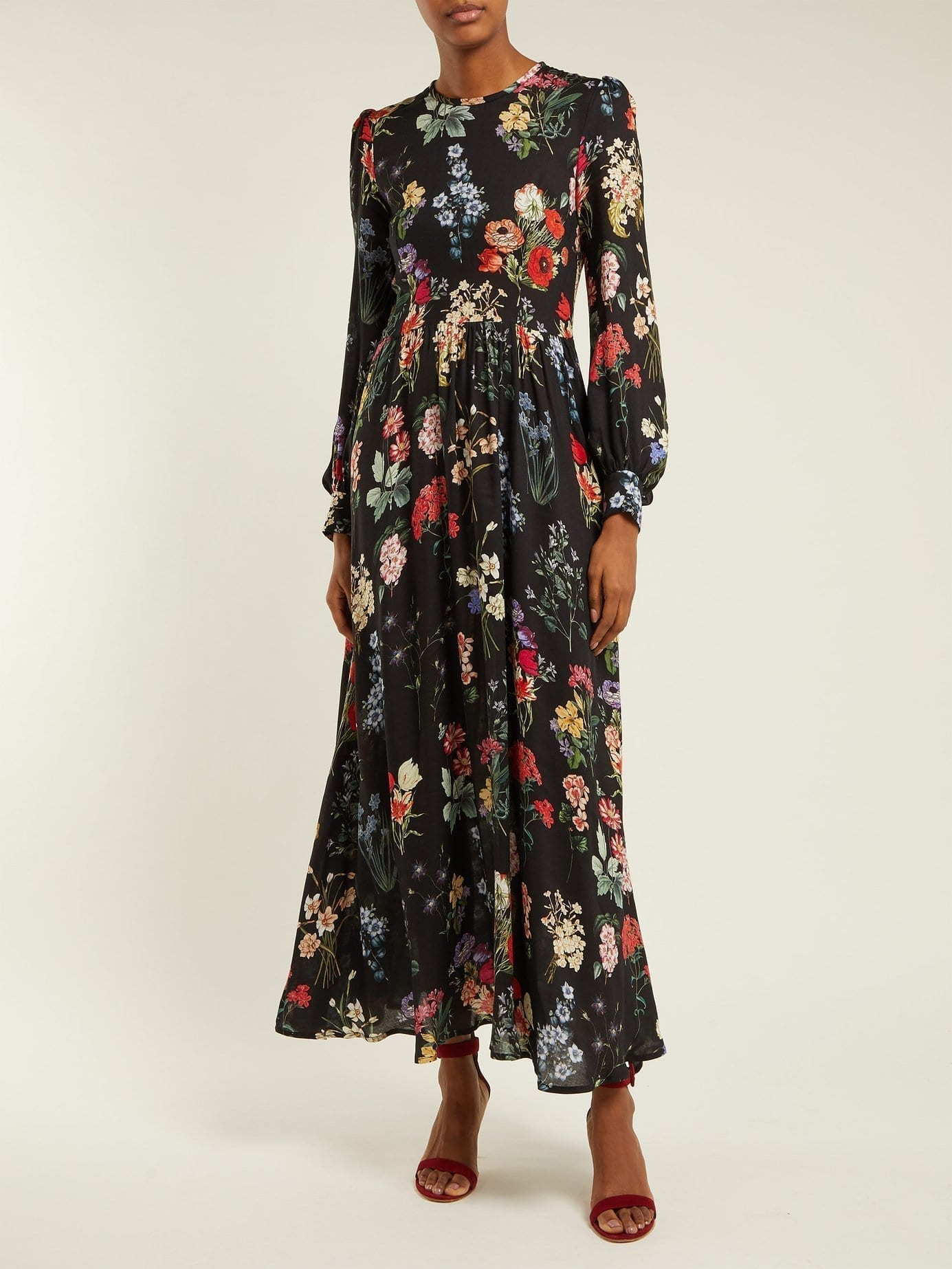 GOAT Garden Black / Floral Printed Dress