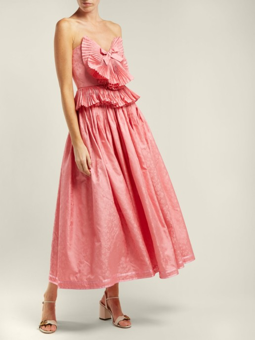 GUCCI Pleated Trim Silk Blend Jacquard Pink Gown