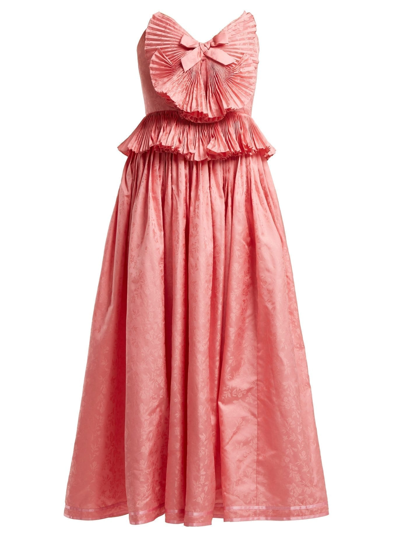 1733a979626 GUCCI Pleated Trim Silk Blend Jacquard Pink Gown - We Select Dresses