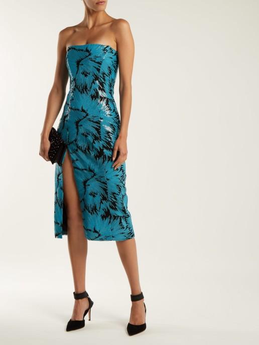 HALPERN Sequined Bustier Midi Turquoise Dress