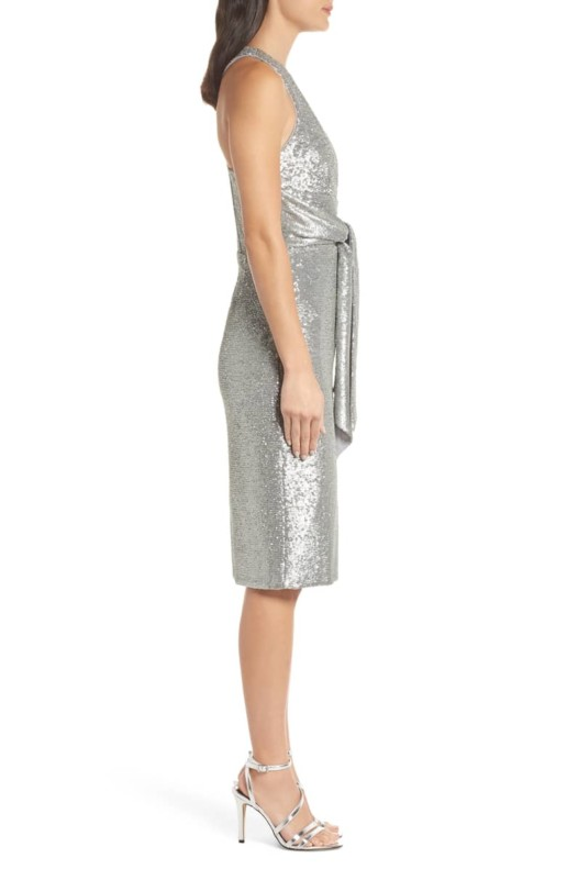 HARLYN Plunge Neck Sequin Silver Dress 2