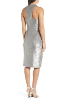 HARLYN Plunge Neck Sequin Silver Dress 3