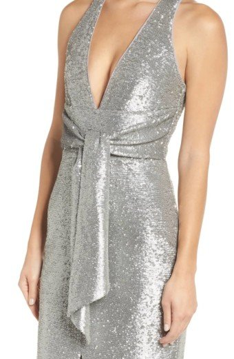 HARLYN Plunge Neck Sequin Silver Dress 4