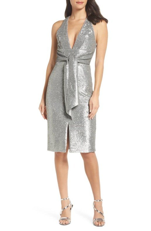 HARLYN Plunge Neck Sequin Silver Dress