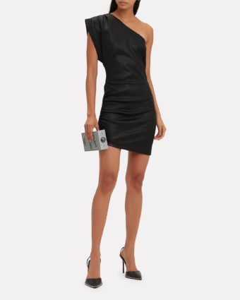 IRO Apria One Shoulder Leather Black Dress