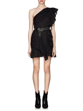 ISABEL-MARANT-ÉTOILE-Teller-One-Shoulder-Linen-Black-Dress