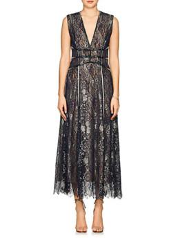 J.-MENDEL-Beaded-Metallic-Lace-Cocktail-Metallic-Gown
