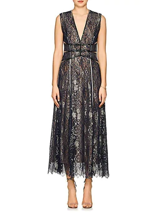 J.-MENDEL-Beaded-Metallic-Lace-Cocktail-Metallic-Gown