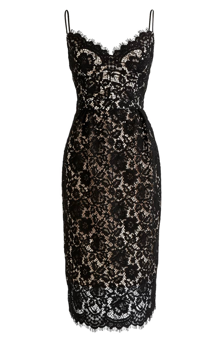 J Crew Guipure Lace Spaghetti Strap Black Dress