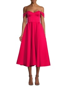 JAY GODFREY Charlie Off-The-Shoulder Cocktail Poppy Dress