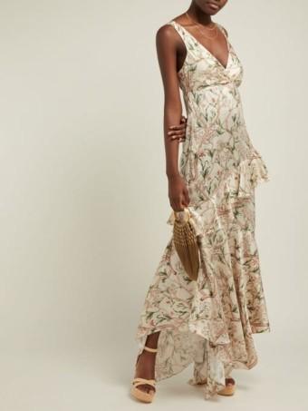 JOHANNA ORTIZ Divine Intervention Floral-Print Silk Ivory Gown