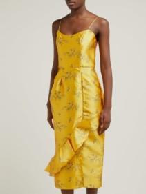 JOHANNA ORTIZ Escape With Me Floral-Print Satin Sunflower Yellow Dress