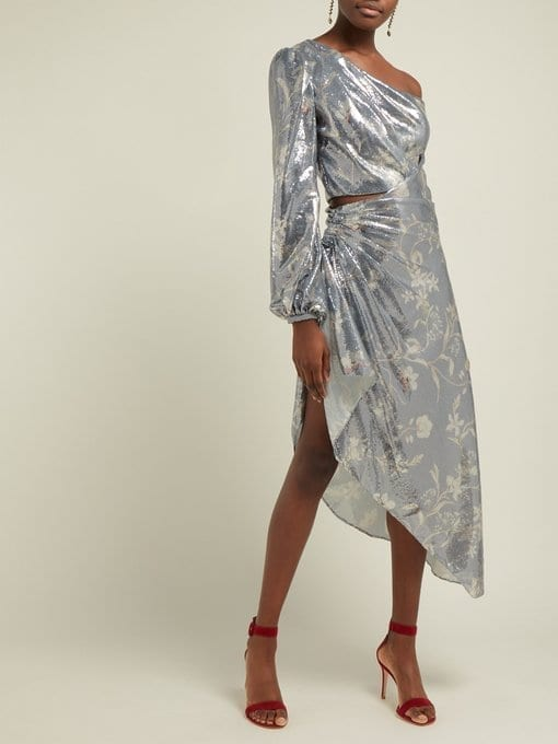 JOHANNA ORTIZ Glassy Orchid Sequinned Asymmetric Silver Dress
