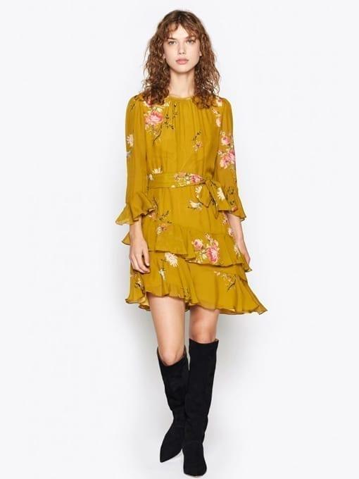 JOIE-Kayane-Silk-Yellow-Dress