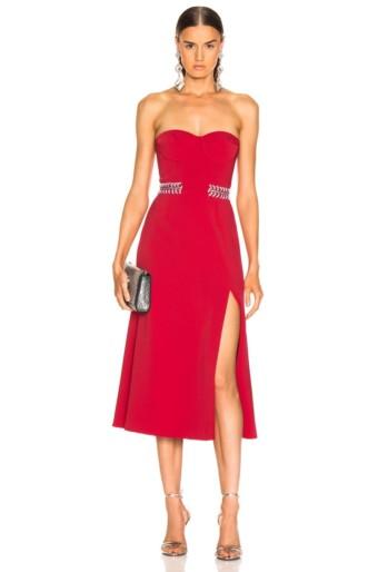 JONATHAN SIMKHAI Chain Bustier Slit Red Dress