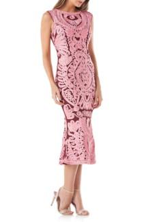 JS COLLECTIONS Soutache Mesh Pink Dress