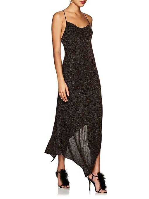 JUAN-CARLOS-OBANDO-Metallic-Asymmetric-Cowlneck-Black-Dress-2