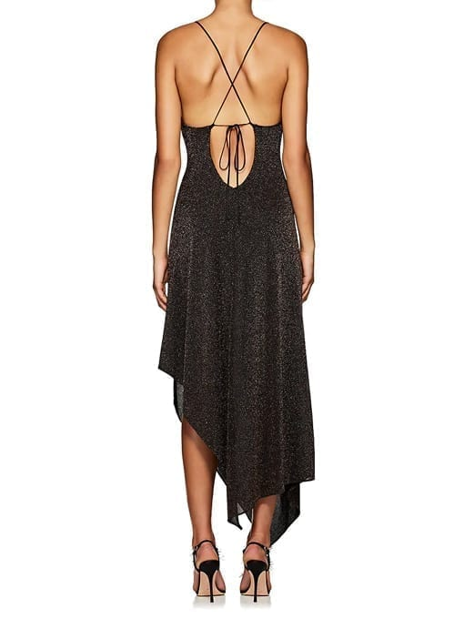 JUAN-CARLOS-OBANDO-Metallic-Asymmetric-Cowlneck-Black-Dress-3