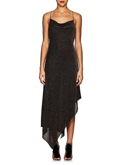 JUAN-CARLOS-OBANDO-Metallic-Asymmetric-Cowlneck-Black-Dress