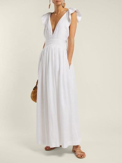 KALITA Persephone Linen Maxi White Dress
