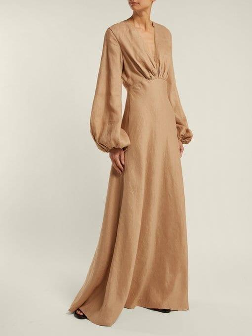 1bbb7abeec9 KALITA Utopia Balloon-Sleeve Linen Maxi Camel Dress - We Select Dresses